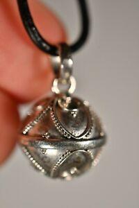 *HARMONY BALL* 925 Balinese Pendant +Cord Flower Circles Chime Jewellery