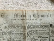 More details for the morning chronicle london wednesday 21 may 1794, with tax stamp