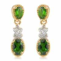 925 Sterling Silver Yellow Gold Over Chrome Diopside Drop Dangle Earrings Ct 0.7