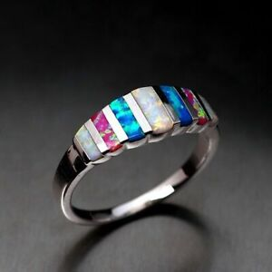 Multi-color Gorgeous 925 Silver Filled Women Wedding Rings Opal Ring Size 6-10