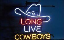 """New Long Live Cowboys Hat Neon Light Sign 17""""x14"""" Beer Gift Bar Real Glass"""