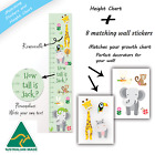 Gift Matching Zoo Animals Personalised Height Growth Chart + Wall Decor Stickers
