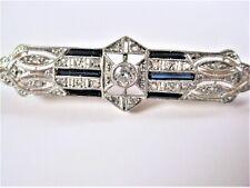 Art Deco Brosche Gold 750 mit Diamanten und Safiren, 4,08 g