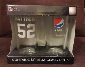 Pepsi Memorabilia Set Of GREEN BAY PACKERS #52 CLAY MATTHEWS  Glasses