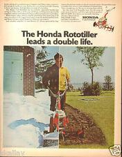 1971 LARGE Print Ad of Honda F-28 F28 Rototiller Snowblower