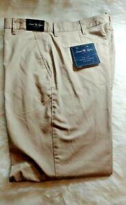 David Taylor Mens Classic Fit Flat Front Tan Khaki Beige Pants 36x32 New