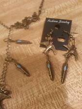 bronze loop thru necklace charm  earrings feathers/bird set