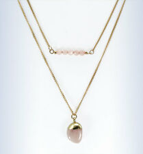"BP Gold-Tone 2-Row PINK Quartz Bead & Stone Pendant Layered 32"" Necklace"