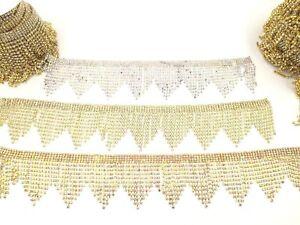 Stunning Diamante Tassel Trim Edging Rhinestone Boarder Lace Decorate Wedding