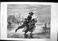 Antique Old Print Exhibition Winter In Zealand Dillens 1862 Pond Ice Skating