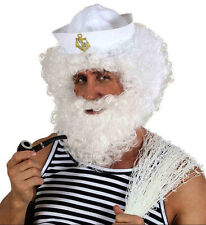 Mens White Ship Captain Curly Wig Sailor Titanic Smith Popeye Fancy Dress
