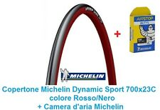 "1 Copertone + Camera Michelin Dynamic Sport 700x23C Rosso per Bici 28"" City Bike"