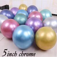 "CHROME BALLOONS METALLIC LATEX PEARL 5"" Baloon Birthday Party Arch kit 50 balon"