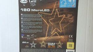 LUCI LUMINARIE NATALE STELLA 3D 180 MicroLed bianco caldo interno esterno 50 cm.