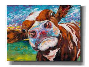 Epic Graffiti 'Curious Cow I' by Carolee Vitaletti Giclee Canvas Wall Art
