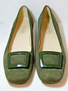 Talbots Suede Leather Classic Olive Green Buckle Square Toe Pumps Shoes Size 8B