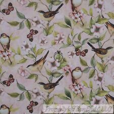 BonEful FABRIC FQ Cotton Quilt VTG Pink Brown Tree Branch Bird Flower Butter*fly