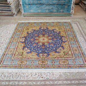 Yilong 9'x9' Handknotted Silk Square Rug Blue Kid Friendly Luxury Carpet TJ188A