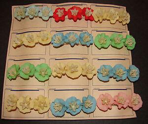 Vintage Barrettes - Celluloid Czech Flower Barrettes in 5 different colors