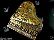SIGNED SWAROVSKI CRYSTAL 22KT GOLD PLATING  PIANO PIN~BROOCH RETIRED NIB