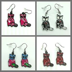 Poizen Industries Evil Teddy chainsaw earrings, emo goth, choice of 4 colours