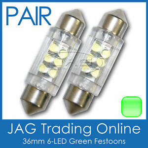 2 x 36mm 6-LED GREEN FESTOON INTERIOR LIGHT GLOBES/BULBS - Car/Boat/Trailer/Auto