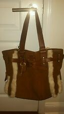 Fossil Adrina Brown Suede Leather White Faux Fur Trim Shoulder Bag Purse Tote
