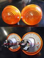 Coppia Fanalini Frecce Anteriori Arancio FIAT 500 F Dx + Sx Corpo Alluminio