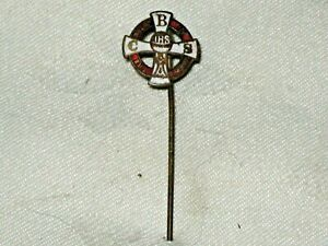 A Vintage Red & White Enamel BCS IHS The Bread of Angels School Stick Pin Badge