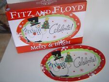 "Fitz & Floyd ""Merry & Bright"" Snowman With Christmas Tree Sentiment Tray"