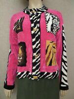 Susan Bristol Women's Chenille Sweater Cardigan Jacket Wearable Art to Wear sz s