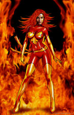 Phoenix sexy Marvel X-men fantasy comics fire art 11x17 signed print Dan DeMille