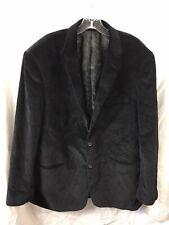 Adolfo Mens Black Blazer Sport Coat Jacket  Corduroy 2 Button Size 46L