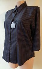 Urban Nature new shirt Blue black striped plus size 14 top 3/4 sleeves NWT