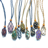 Hemp Wrapped Crystal Necklace Amethys Natural Stone Pendant Macrame Jewelry