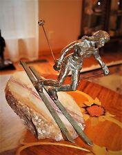 Vintage Curtis Jere Rare Bronze Woman Skier figurine 'Downhill Skier' 1970's