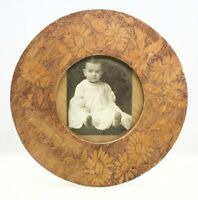 Antique Handmade Round Wood Frame Americana Folk Art Carved Signed