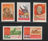 Russia 1957 MNH Sc 1998-2002 Mi 1995B-1999B Lenin & Red October.Imperforated **