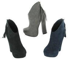 Ladies Coco Platform Textile ankle boot with tassel detail L8632 ip