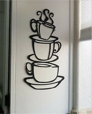 Coffee House Black Cup Design Java Silhouette Wall Art Metal Mug Kitchen Decor