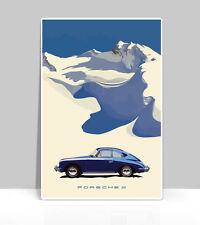 "Porsche Poster Bali Blue 356 Porsche in snow . Aluminum Poster18""x24"""