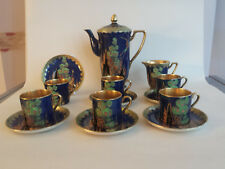 Crown Devon Art Deco lustre emamel & gilded 'Fantasia' coffee set for 6 (-sugar)