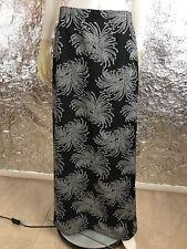 Women's Vintage 1970's Black & Metallic Silver Printed Maxi Skirt, Size M/L
