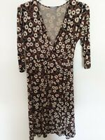 M&S Dress Wrap Style Black Cream Floral Print Work Office Stretchy Skater UK 14