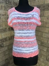 Hollister Coral/White Striped Sleeveless Open Weave Knit Sweater Top Women's XS