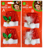 1Pair Adults Kids Christmas Xmas Novelty Santa Hat Hair Clip Mini Santa Hat Clip