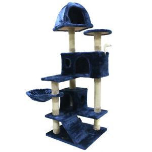 51'' New Blue Cat Tree Pet Furniture Scratch Post Tower Condo Play House Toy