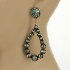 """Western Faux Turquoise Navajo Style Pearl Pewter Colored Earrings 3"""""""