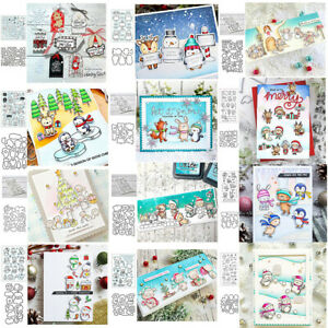 Xmas Winter Animals Clear Stamp with Cutting Die Set Diy Scrapbooking Decor Card