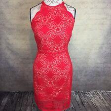 Sz M - Endless Rose Women's Tied Halter Criss Cross Back Laced Mini Dress